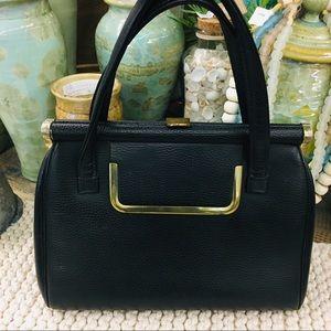 Gorgeous black vintage satchel bag leather